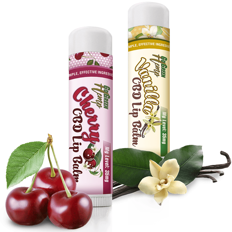 Go Green Hemp CBD Lip Balm Cherry and Vanilla