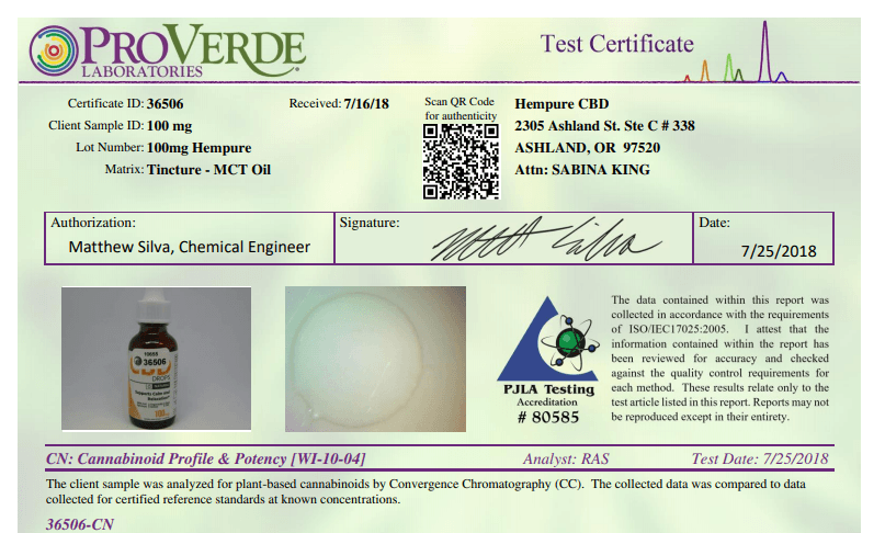 Hempure Certificate of Analysis