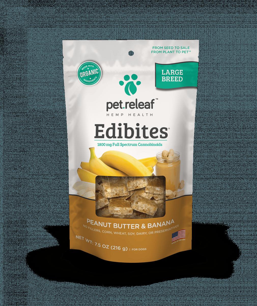Pet Releaf Edibites peanut butter and banana for large dog breeds