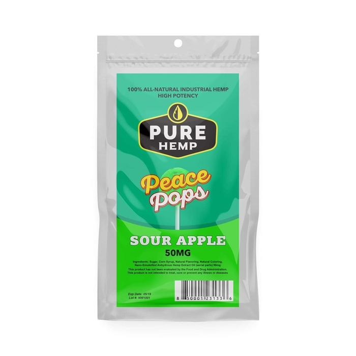 Pure Hemp Shop CBD Lollipop Peace Pop Sour Apple