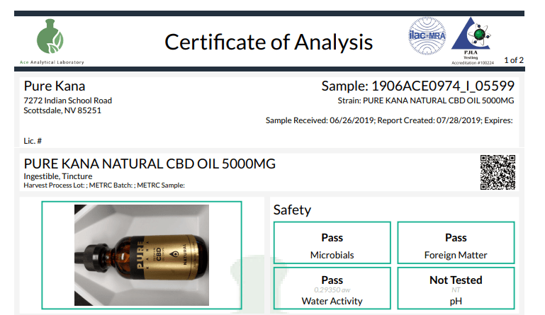 PureKana Certificate of Analysis