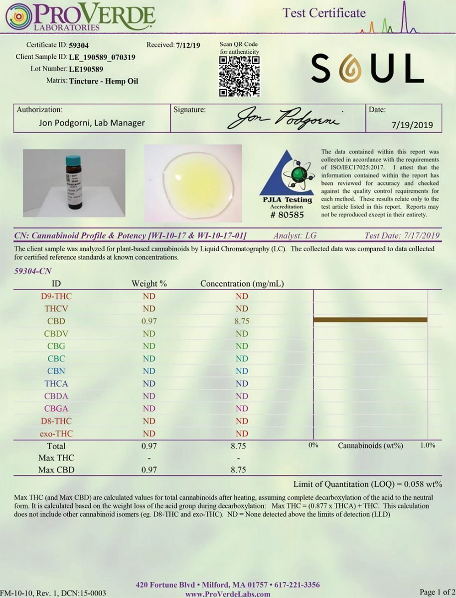 Soul CBD Certificate of Analysis