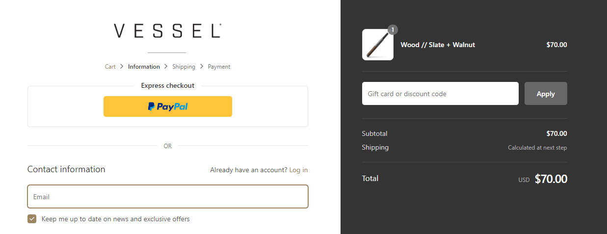 Vessel Coupon Code